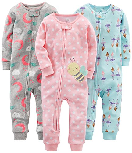 Simple Joys by Carter's Baby Girls' Toddler 3-Pack Snug Fit Footless Cotton Pajamas, Ballerina/Moon/Bee, 3T