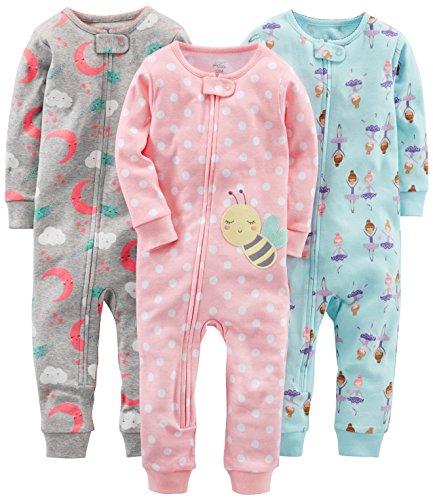 Simple Joys by Carter's pijama de algodón sin pies para bebés y niñas pequeñas, paquete de 3 ,Ballerina/Moon/Bee ,24 Months