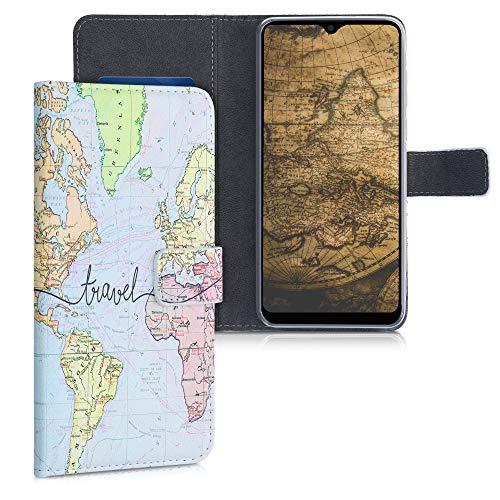 kwmobile Wallet Case kompatibel mit Blackview A80 Pro (2020) - Hülle Kunstleder mit Kartenfächern Stand Travel Schriftzug Schwarz Mehrfarbig