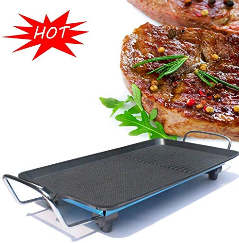 Nonstick Electric Indoor Electric Smokeless Teppanyaki Tafel, 2 kookzones met 5 niveaus instelbare temperatuur, Oversized Koken Surface 24X40cm for Indoor Outdoor ZHW345