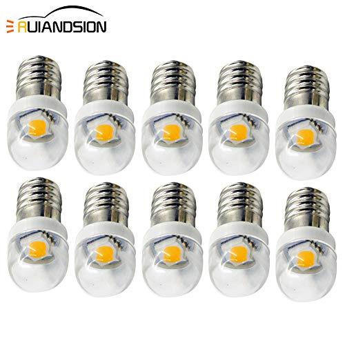 Ruiandsion 10 bombillas LED E10 de 3 V, 6 V, 12 V, 0,5 W, 5050 1SMD, color blanco cálido, para faros delanteros, linterna, luz negativa, Blanco, 3 V