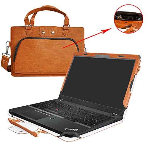 "ThinkPad E560 Case,2 in 1 Accurately Designed Protective PU Leather Cover + Portable Carrying Bag for 15.6"" Lenovo ThinkPad Edge E560 15 Series Laptop(Not fit ThinkPad E570/E575),Brown"