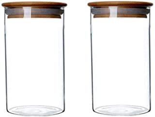 2 Piece Clear Glass Canister Food Storage Jar with Airtight Wood Lids Air Tight Storage Containers for Coffee Bean Loose L...