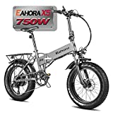 eAhora X5 N 750W Electric Bike Aluminum Crankset Hydraulic Brake 20' Fat Tires 45-55 Miles Travel Distance Ebike for Adults 8 Gearing Thumb Throttle Flat Leather Grip for 5.3ft to 6.3ft Rider
