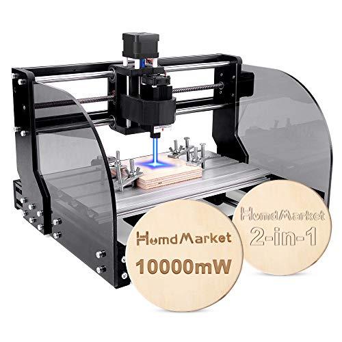 【2 In 1】CNC Fräsmaschine Laser Engraving Machine 3018 Pro Max GRBL Steuerung Perfektes Set für Anfänger und HobbyHolz Router Stecher mit Offline-Controller XYZ Arbeitsbereich 300x180x45mm (10W)