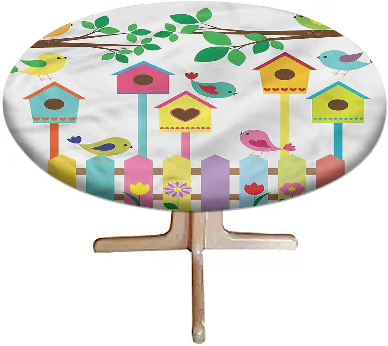 LCGGDB Birds Elastic Edged Tablecloth Fitted Polyester Colorful Great Max 88% OFF interest