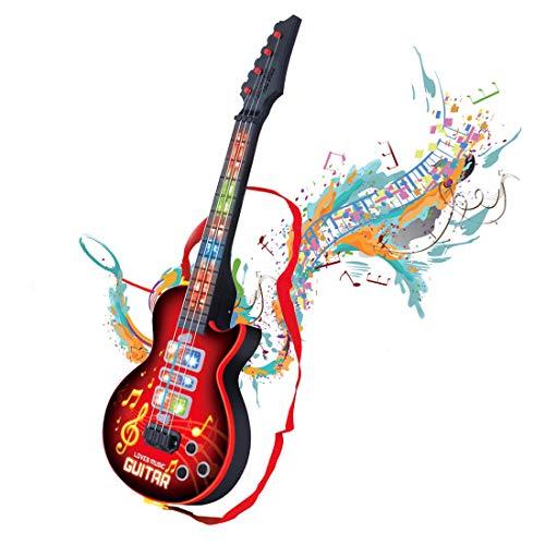Kindergitarre, Shayson 4 Saiten Kinder Musikinstrumente Musik Gitarre Spielzeug mit Licht für kinder