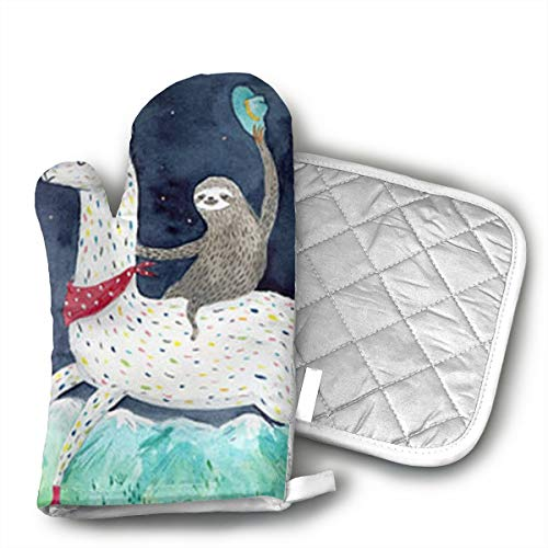 Sloth Riding Llama Painting Oven Mitts and Potholders (2-Piece Sets) - Kitchen Set with Cotton Heat Resistant,Oven Gloves for BBQ Cooking Baking Grilling