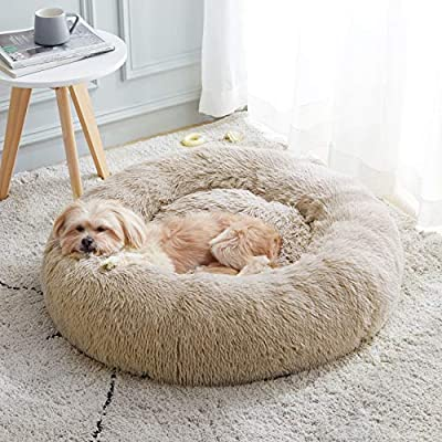 """Calming Dog Bed & Cat Bed, Anti-Anxiety Donut Dog Cuddler Bed, Warming Cozy Soft Dog Round Bed, Fluffy Faux Fur Plush Dog Cat Cushion Bed for Small Medium Dogs and Cats (20""""/24""""/27"""")"""