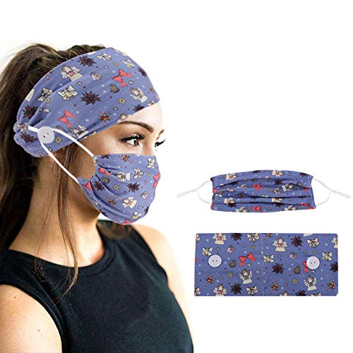 2Pcs Button Headband and Mask for Women Turban Soft Yoga Sports Elastic Hair Fashion Hair Band with Mask for Nurse Mask HeadbandwithButtons (Christmas Lake blue)