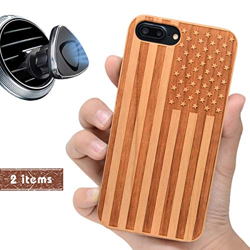 iProductsUS America Flag Phone Case Compatible with iPhone 8 Plus,7 Plus,6 Plus, 6s Plus and Magnetic Mount, Wood Cases Engrave in USA, Built in Metal Plate, TPU Bumper Protective Cover (5.5')