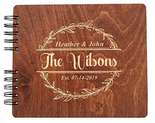 """Couples Custom Wreathe (11x8.5"""" or 8.5""""x7) Guest Book Wedding Mr Mrs Decor Im Getting Married Rustic Photo Album Gift"""