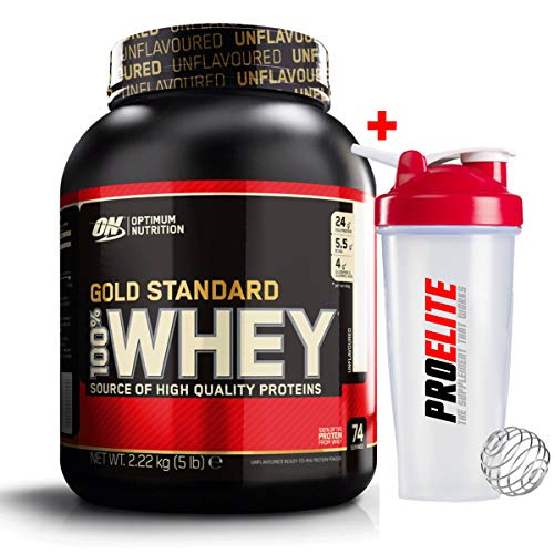 Optimum Nutrition ON 100% Gold Standard Whey Protein 2.27kg / 5lbs Unflavoured + Shaker