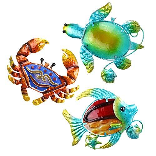 FANWNKI 3 Stück Metallkrebs Meeresschildkröte Fisch mediterrane Wandkunst Dekoration für Pool Veranda Zaun Garten Haus Wohnzimmer Schlafzimmer