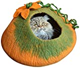 Earthtone Solutions Cat Cave Bed, Orange Green Handmade Felted Merino Wool, Large Covered and Cozy, Also Perfect for Kittens, Includes Bonus Catnip, Original Cat Caves, (Radiant Realm)