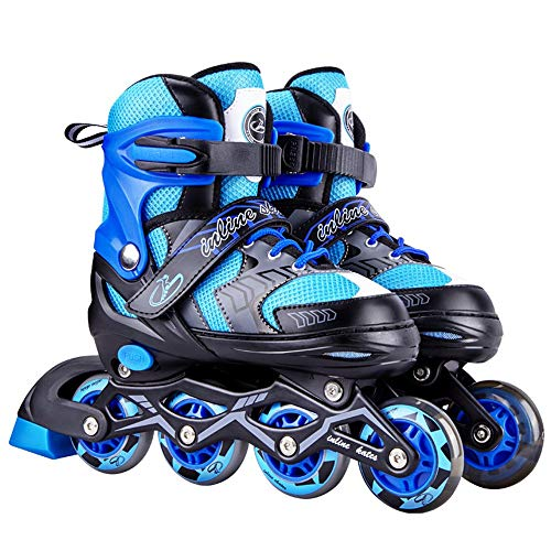 Ice-Beauty-ukzy Inline Skates, Adjustable Inline Skate Durable with Light Up Wheels, Thicken Bracket Triple Protection Skate for Kids Best Giftsblue-S (27~32)