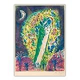 zkpzk Marc Chagall 《Pareja En Las Mimosas》 Lienzo Pintura Al Óleo Obra De Arte Famosa Póster Imagen Decoración De Fondo De Pared Decoración del Hogar -50X75Cmx1 Sin Marco