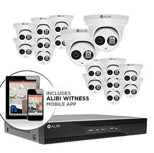 Best Buy! Alibi 16-Camera 4K 8.0 Megapixel 120' IR Outdoor IP Dome Security Camera System with 16-Ch...