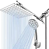 "Shower Head with Handheld, High Pressure 8"" Rain/Rainfall Shower Head Combo with 5FT Stainless Steel Hose, 11'' Adjustable Extension Shower Arm, 9 Settings Anti-leak Shower Head with Holder, Chrome"