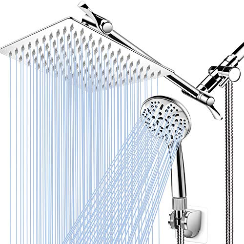 """Shower Head with Handheld, High Pressure 8"""" Rain/Rainfall Shower Head Combo with 5FT Stainless Steel Hose, 11'' Adjustable Extension Shower Arm, 9 Settings Anti-leak Shower Head with Holder, Chrome"""