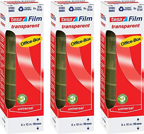 tesa film transparent, Office-Box mit 8 Rollen (10m:19mm 3 Boxen)