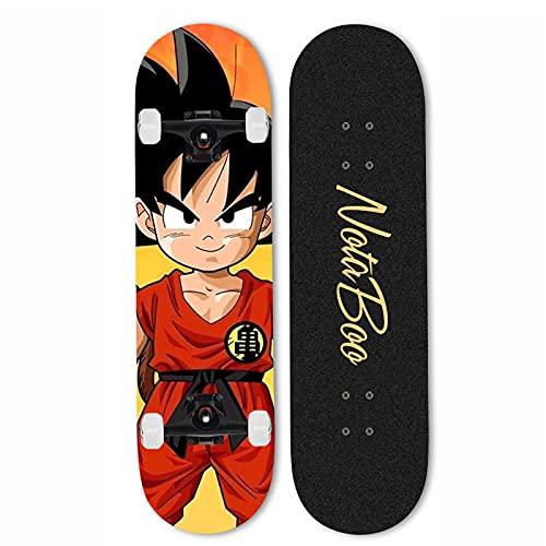 7-Lagiger Kanadischer Ahorn Doppelkick Maple Deck Concave Cruiser Skateboard Komplett Für Kinder Jugendliche & Erwachsene Anfänger Belastung 200kg-mi