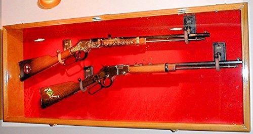 2 Rifle Musket Gun Shotgun Display Case Cabinet Rack Airsoft Replica Wall Mount (Oak Finish, Red Background)