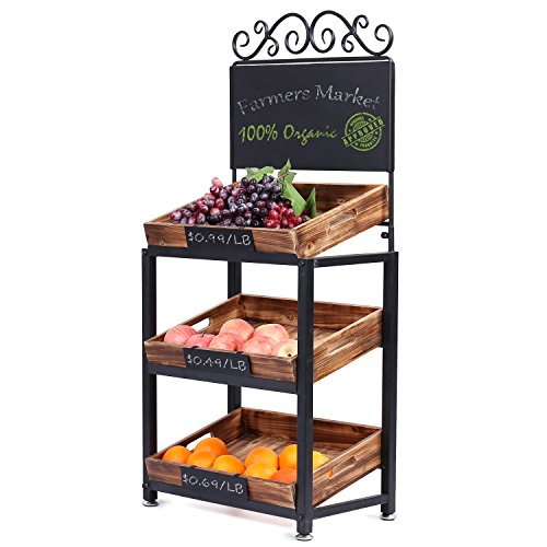 MyGift 3-Tier Vintage Metal & Burnt Wood Produce Stand with Chalkboard Sign