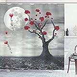 ABAKUHAUS Baum Duschvorhang, RomanTische VollMondnacht, Seife Bakterie Schimmel & Wasser Resistent inkl. 12 Haken & Farbfest, 175 x 180 cm, Graue Vermilion & weiß