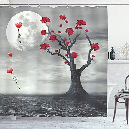 ABAKUHAUS Baum Duschvorhang, RomanTische VollMondnacht, Seife Bakterie Schimmel & Wasser Resistent inkl. 12 Haken & Farbfest, 175 x 220 cm, Graue Vermilion & weiß