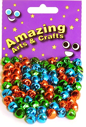 72 Jingle Bells 10 mm, colore: rosso, verde e blu by Amazing Arts and Crafts Ltd
