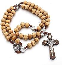 JINKEBIN kettingen 9 stijlen Christus Jezus Houten Rozenkrans Kruis Hanger Geweven Touw Ketting Halsband Religieuze Bidden...