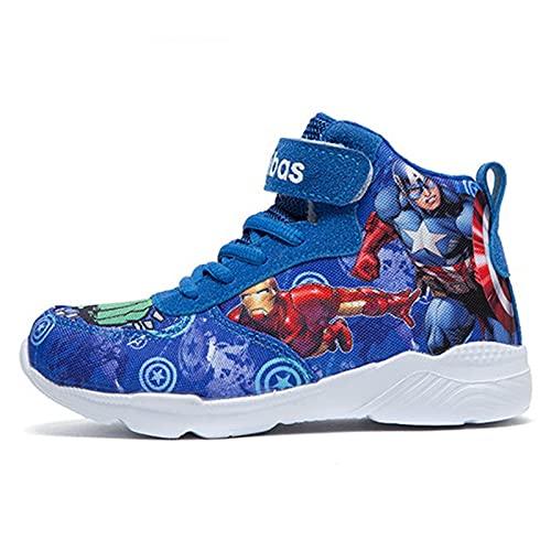 YICHUAN Zapatillas De Deporte Altas De Moda De Superhéroe para Niños Zapatos Deportivos Casuales Al Aire Libre para Niños,Blue-36EU