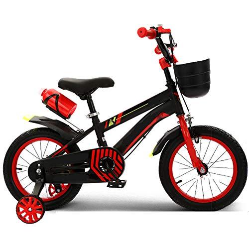 LFFME Bicicleta para Niños De 12-20 Pulgadas para Niñas Y Niños con Rueda Auxiliar, Guardabarros Y Cestas, Sillín Regulable, Marco De Acero Al Carbono,B,12