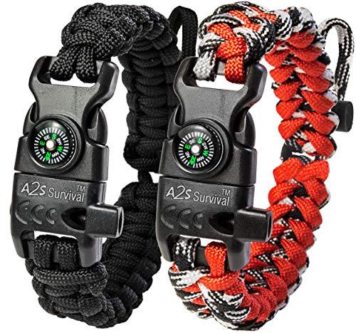 A2S Proteccion Paracord Pulsera K2-Peak - Juego de Equipo de Supervivencia con brújula integrada, Encendedor de Fuego, Cuchillo de Emergencia y Silbato (Negro / Rojo tamaño Ajustable)