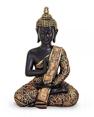 TEMPELWELT Deko Figur Buddha Statue Amoghasiddhi sitzend 15 cm, Polystein schwarz Gold rot, Dhyani-Buddha Dekofigur Thai Buddha Statue Buddhafigur
