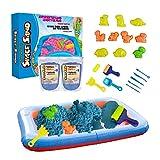 Leo & Emma Space Sand 1.8kg Juego de Arena Magia Dinosaurios 20 pcs. 10 moldes con Animales, Pala, Herramienta de Modelado, Caja de Arena - Nuevo Modelo Probado por TÜV (1.8kg Azul)