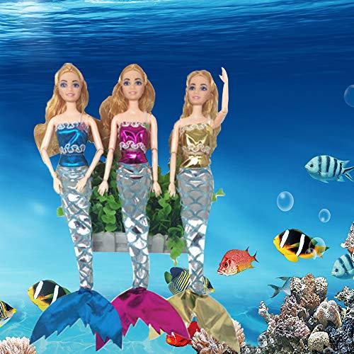 WENTS Traje de Sirena de Muñeca 4 pcs Hermosas Sirenas Exquisitas Trajes Vestido de Muñeca para Niños de 2 a 5 Años Muñecas Convenientes (Azul, Rosa, Rosa Rojo, Amarillo)