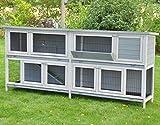 nanook Bommel XXL Doppel Kaninchenstall Hasenstall - doppelstöckig - wetterfest - 230 x 50 x 101 - Farbe: grau - extra großes Kanninchengehege