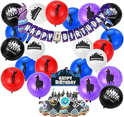 FGen Artículos de Fiestas para Fanáticos de los Videojuegos, Decoraciones para Cumpleaños de Tema de Videojuegos, con Globo de Látex, Pancartas, Adorno de Torta, Bandera de la Torta (51 PCS)
