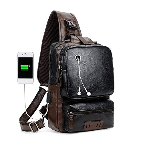 Men's Sling Bag, Crossbody PU Leather Shoulder Backpack with USB Charging Port, Vintage