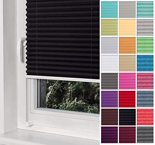 Home-Vision® Premium Plissee Faltrollo ohne Bohren mit Klemmträger / -fix (Schwarz, B80cm x H200cm) Blickdicht Sonnenschutz Jalousie für Fenster & Tür
