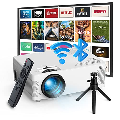Mini Projector Bluetooth,Outdoor Movie Projector with Tripod,WiFi Projector...