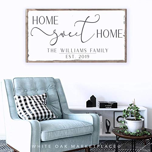 tian huan88 Home Sweet Home Sign, Familiebord, Familienaambord, Familie opgericht teken, Naam teken achternaam, Gepersonaliseerd teken, Boven bank teken