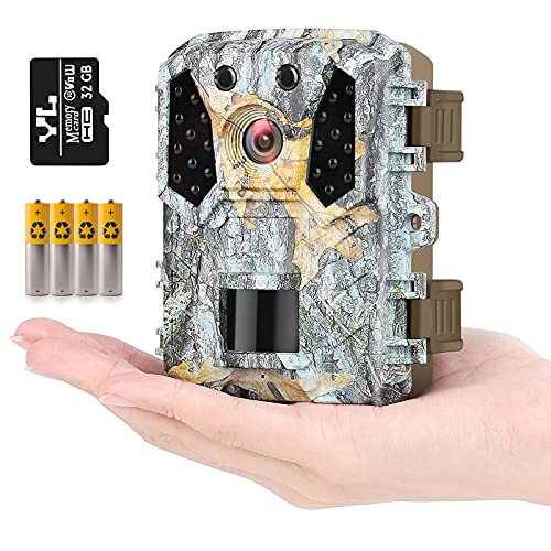"""HAWKRAY Mini Trail Game Camera-M2, 20MP 1080P,Free 32GB SD Card and 4AA Batteries,Game Camera Infrared Sensors 120° Low Glow IR Night Vision Motion Activated,2"""" LCD,IP65 Waterproof"""