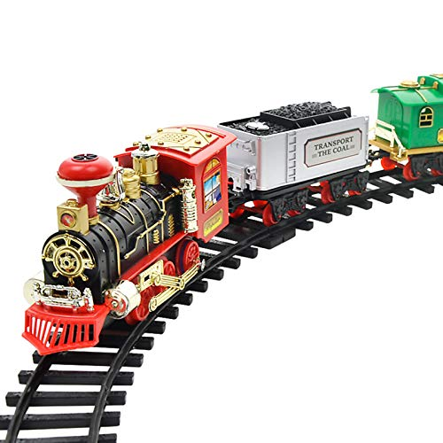 HLONGG Model Train Set, Electric Train Set Battery Powered, Classic Toy Train Set with Headlight, Smoke, Realistic Sounds, Car Carriage And Track,02