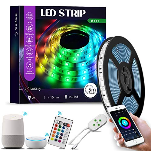 LED Strip Google Home von GoKlug LED Strip Alexa Streifen 5m, Sync mit Musik, 16 Mio Farben steuerbar via App, dimmbar WLAN Wireless Smart RGB LED Strip Kit Leiste Band (5m LED strip Kit)