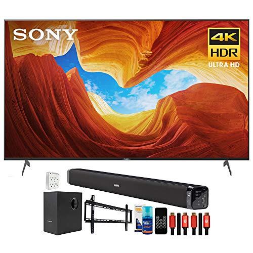 Sony XBR75X900H 75 inch X900H 4K Ultra HD Full Array LED Smart TV (2020 Model) Bundle with Deco Gear Home Theater Soundbar with Subwoofer, Wall Mount Accessory Kit, 6FT 4K HDMI 2.0 Cables and More