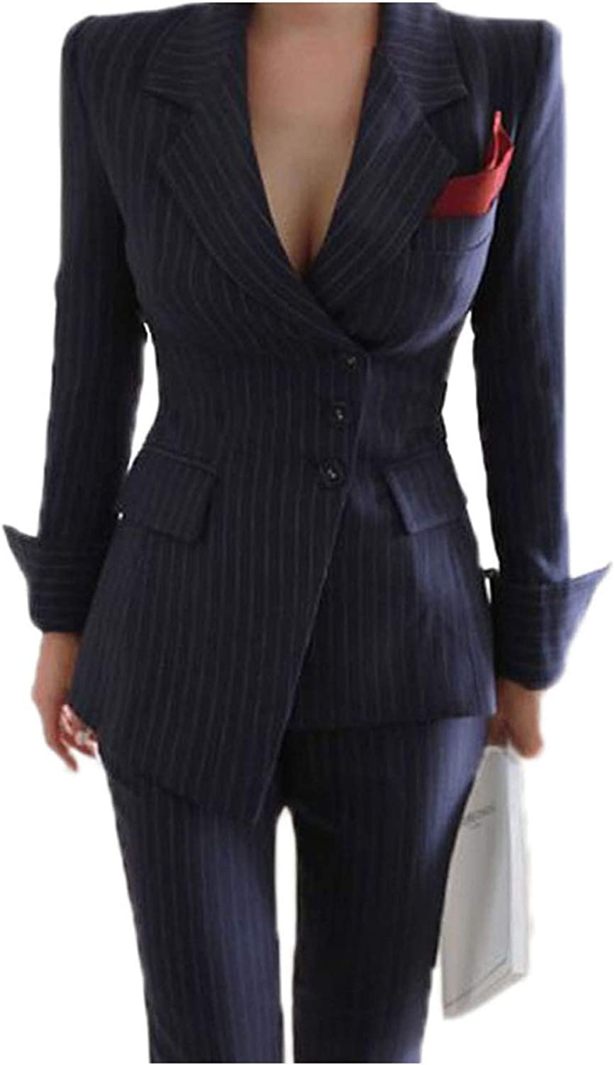 JYDress Women's Irregular Striped Pant Suits Slim Jacket Pant 2 Pieces Set Female Wear