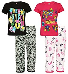 SINIMINI Girls Printed Capri Set (Pack of 2)